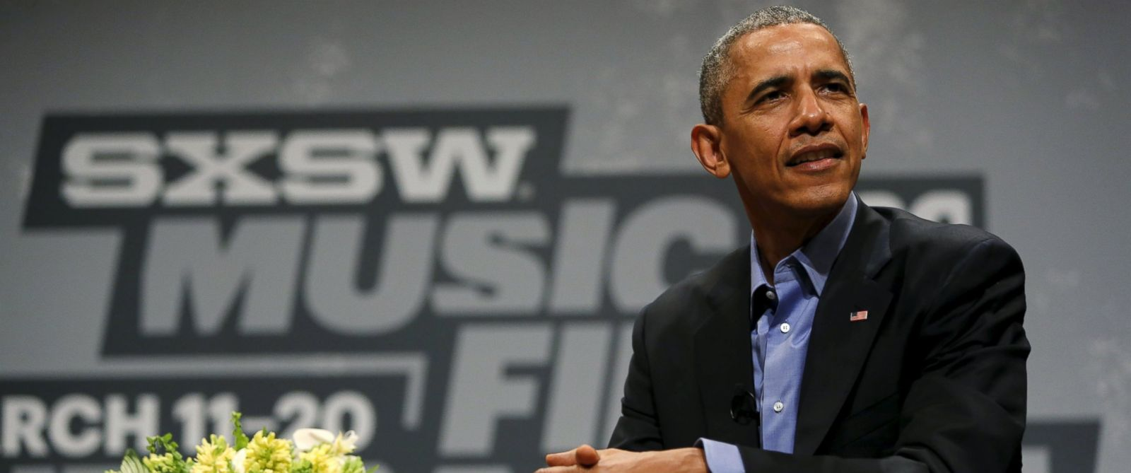 PHOTO: U.S. President Barack Obama participates in an onstage interview at the South by Southwest Interactive in Austin, Texas, March 11, 2016.