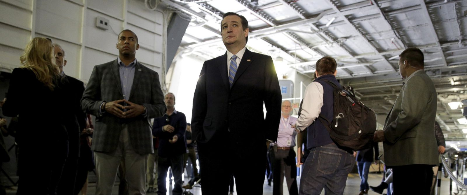 PHOTO: Ted Cruz before a campaign event on the USS Yorktown in Mount Pleasant, South Carolina Feb. 16, 2016.