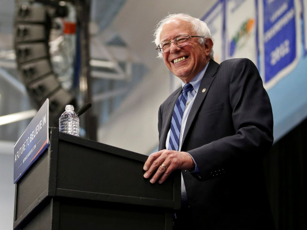 PHOTO: Democratic presidential candidate Bernie Sanders, I-VT, smiles during a campaign rally at the Indiana University-Purdue University Fort Wayne in Fort Wayne, Ind., May 2, 2016.
