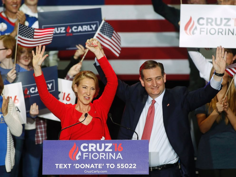 PHOTO: Republican presidential candidate Ted Cruz stands with Carly Fiorina after he announced Fiorina as his running mate at a campaign rally in Indianapolis, April 27, 2016.