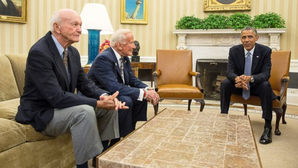 RT collins aldrin obama jef 140722 16x9 608 Apollo 11 Astronauts at the White House: Then and Now