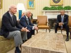 PHOTO: President Barack Obama meets with Apollo 11 Astronauts Edwin Buzz Aldrin and Michael Collins, left, to commemorate the 45th anniversary of the Apollo 11 mission in the Oval Office at the White House in Washington, July 22, 2014.