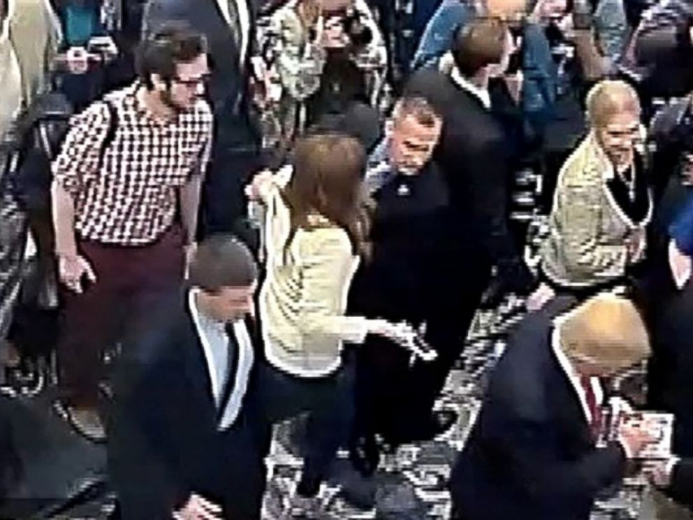 PHOTO: Corey Lewandowski is seen allegedly grabbing the arm of Michelle Fields, a reporter, in this still frame from video taken March 8, 2016, and released by the Jupiter (Florida) Police Department.