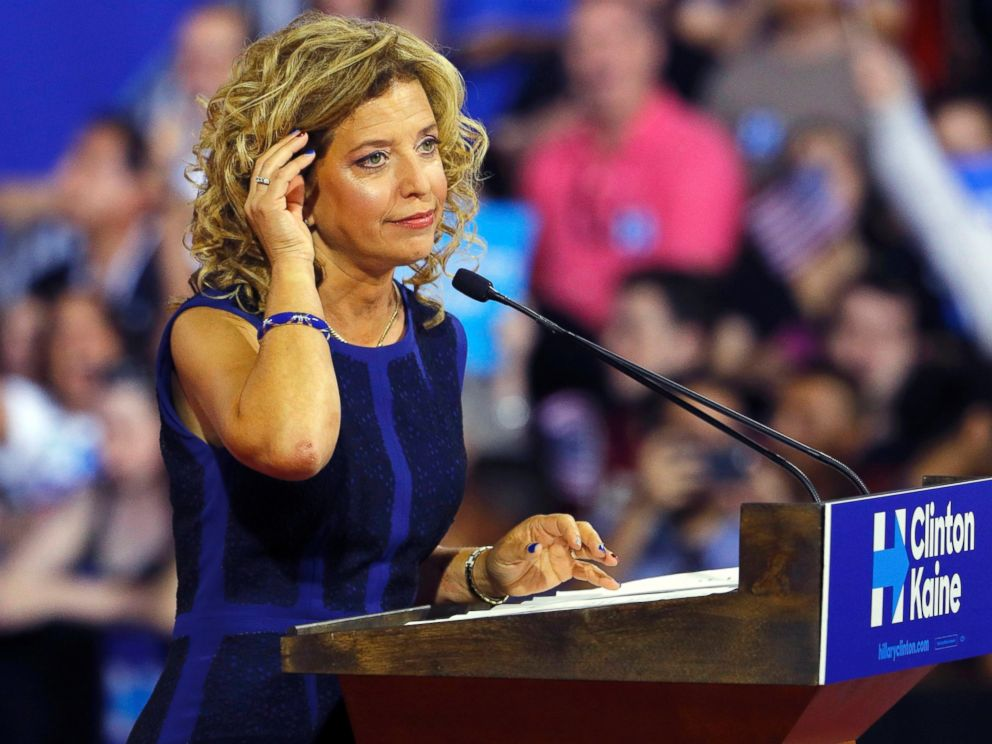 PHOTO: Democratic National Committee (DNC) Chairwoman Debbie Wasserman Schultz speaks at a rally, before the arrival of Democratic presidential candidate Hillary Clinton and her vice presidential running mate Sen. Tim Kaine, in Miami, July 23, 2016.