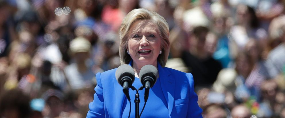 "PHOTO: Democratic presidential candidate Hillary Clinton delivers her ""official launch speech"" at a campaign kick off rally in Franklin D. Roosevelt Four Freedoms Park on Roosevelt Island in New York City, June 13, 2015."
