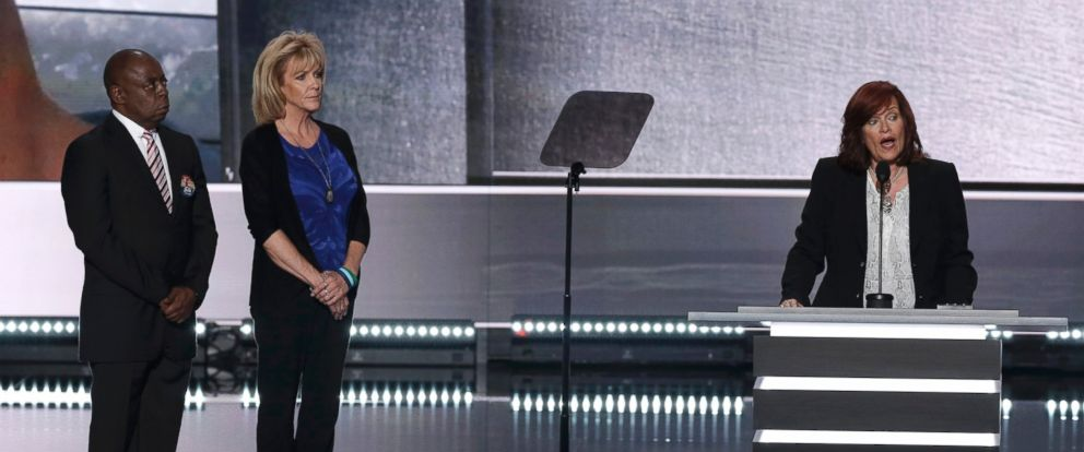 """PHOTO: Sabine Durden speaks as she appears with Jamiel Shaw, left, and Mary Ann Mendoza, center, all described on the Republican National Convention schedule as """"victims of illegal immigrants,"""" in Cleveland, Ohio, July 18, 2016."""