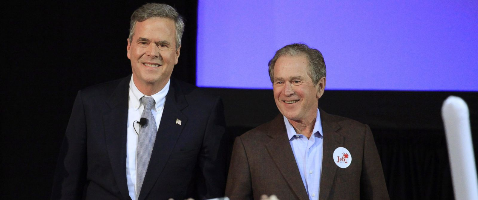 PHOTO: Jeb Bush is joined by his brother former President George W. Bush on the campaign trail for the first time in the 2016 campaign at a rally in North Charleston, South Carolina, Feb. 15, 2016.