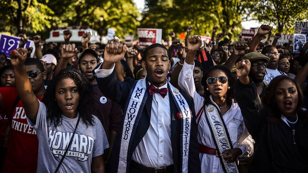 PHOTO: Howard University students participate in the Realize the Dream Rally fo