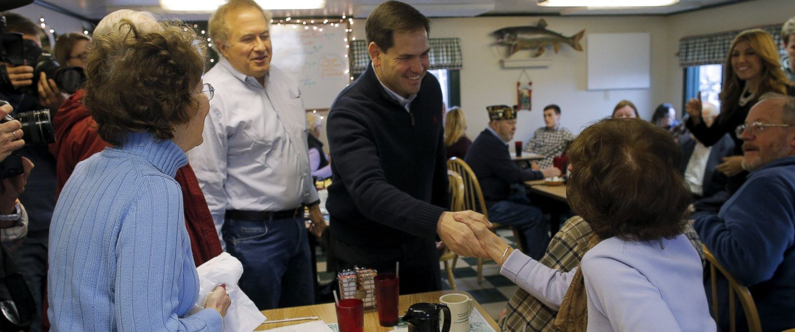 PHOTO:In this file photo, Marco Rubio greets diners at Georges Diner in Meredith, N.H., Dec. 21, 2015.