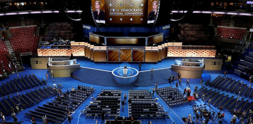PHOTO: A general view of the stage and floor as preparations continue ahead of the 2016 Democratic National Convention in Philadelphia, July 24, 2016.