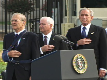 pic of donald rumsfeld, robert gates and george bush at pentagon memorial