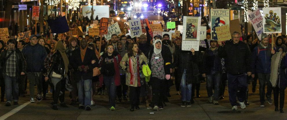 PHOTO: People march through downtown Seattle during a protest held in response to President Donald Trumps travel ban in Seattle, on Jan. 29, 2017.