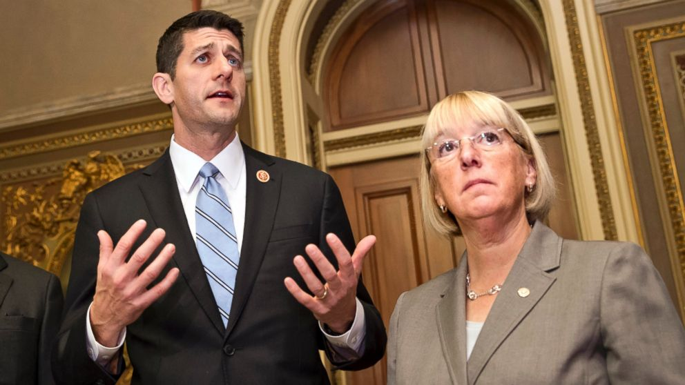 PHOTO: This Oct. 17, 2013 file photo shows House Budget Committee Chairman Rep. Paul Ryan, R-Wis., left, and Senate Budget Committee Chair Patty Murray, D-Wash., on Capitol Hill in Washington.