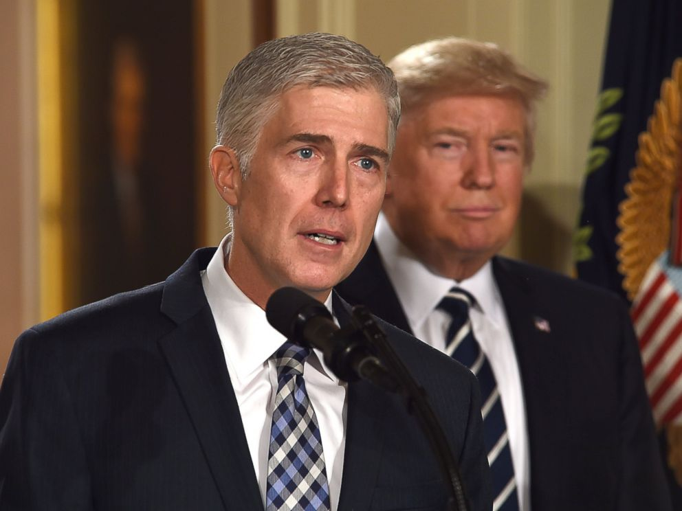 PHOTO: Judge Neil Gorsuch speaking in the East room of the White House after being nominated by President Trump for the vacant seat at the US Supreme Court, Jan. 31, 2017.