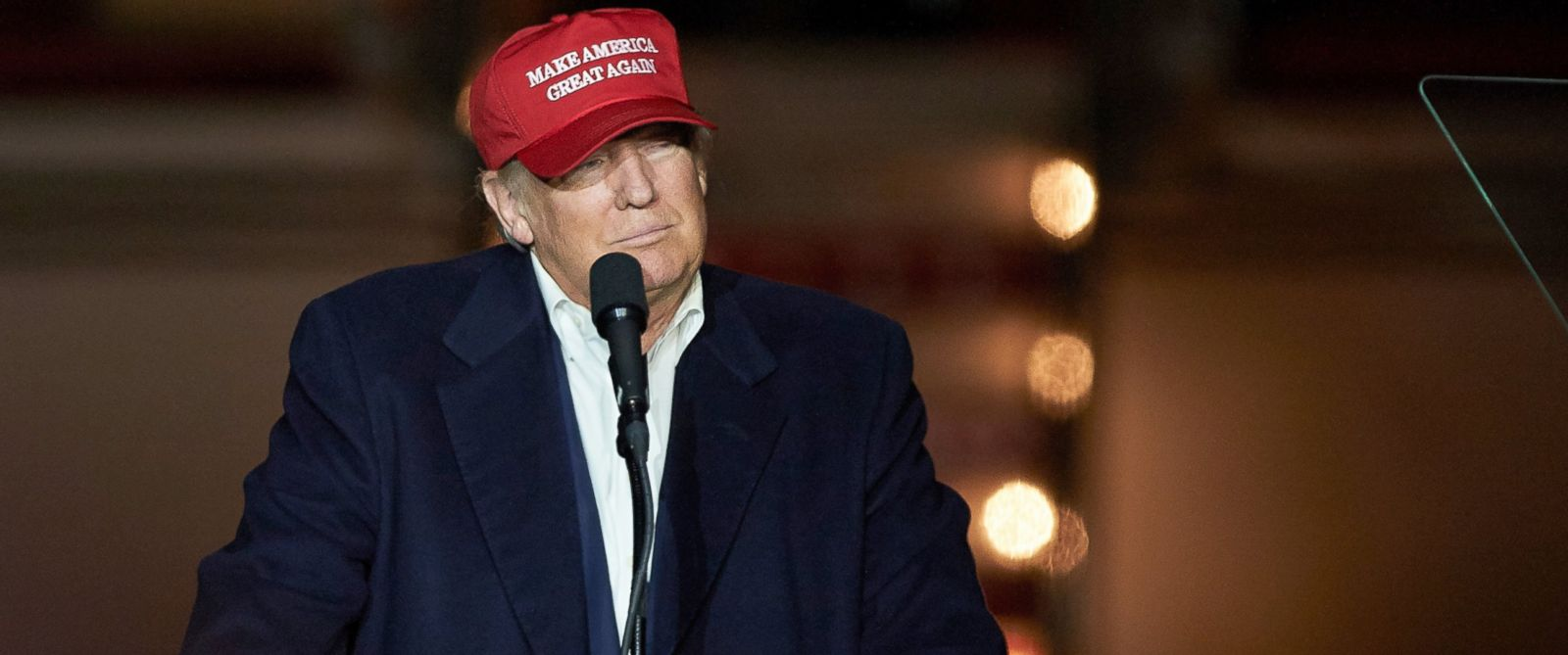 PHOTO: Republican presidential candidate Donald Trump addresses supporters during his final appearance.