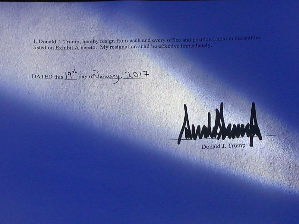 PHOTO: A copy of the resignation letter dated Jan. 19, 2017 -- the day before the inauguration -- seen by ABC News reads: I, Donald Trump, hereby resign from each and every office and position I hold in the entities listed.