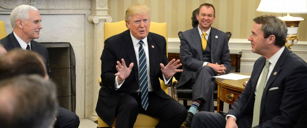 PHOTO: President Donald Trump and Vice President Mike Pence meet with the Republican Study Committee at the White House, March 17, 2017, in Washington. Chairman Mark Walker of North Carolina, right, heads the committee.