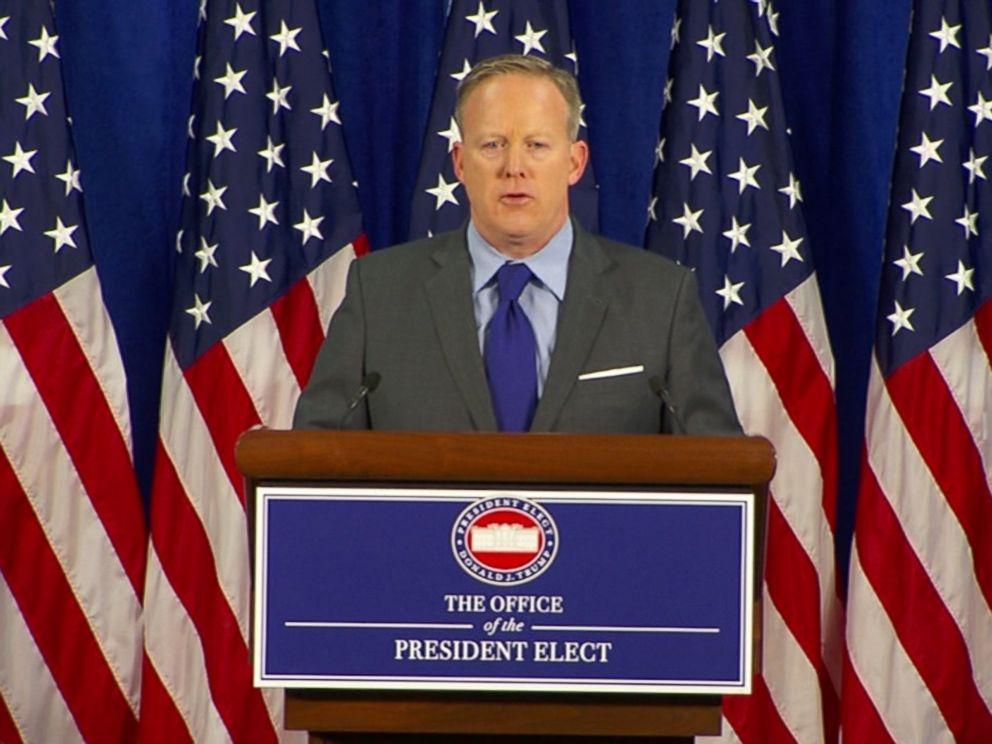 PHOTO: Sean Spicer, Press Secretary to U.S. President-elect Donald Trump speaks at a press conference, Jan. 19, 2017.