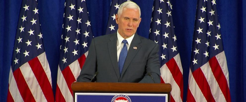 PHOTO: Vice President-elect Mike Pence speaks during a press conference, Jan. 19, 2017.