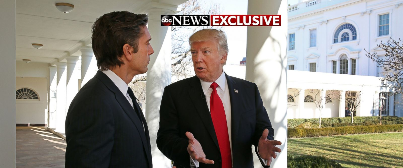 PHOTO: ABC News David Muir talks to President Donald J. Trump during a walk along the colonnade of the White House during Trumps first one-on-one television interview since being sworn in as the 45th president of the United States, Jan. 25, 2017.