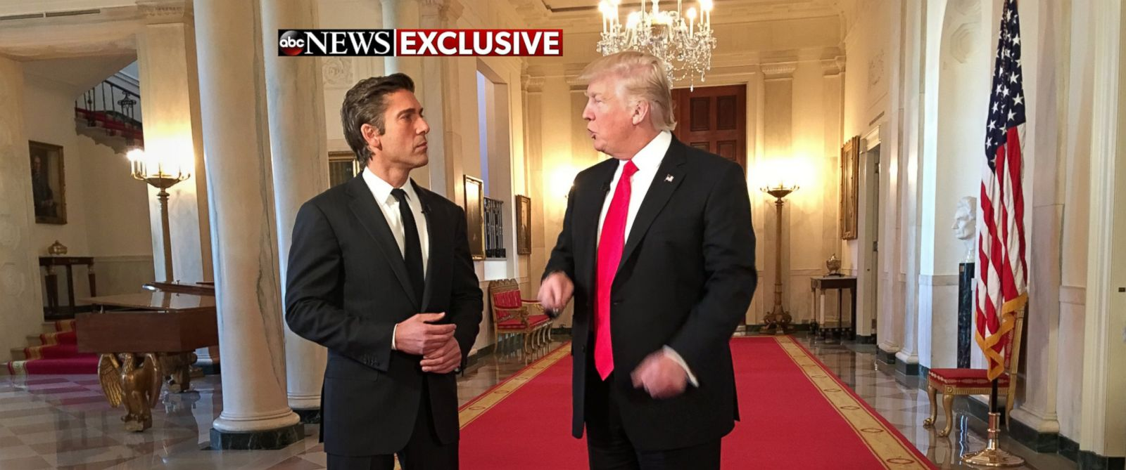 PHOTO: President Donald Trump shows ABCs David Muir around the White House following his first interview as president, Jan. 25, 2017.