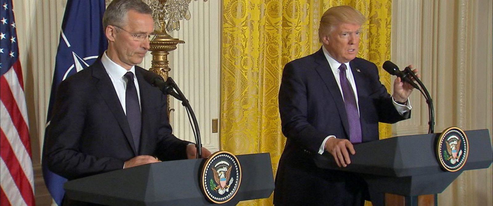 PHOTO: President Donald Trump and NATO Secretary-General Jens Stoltenberg speak in a press conference in Washington, April 12, 2017.