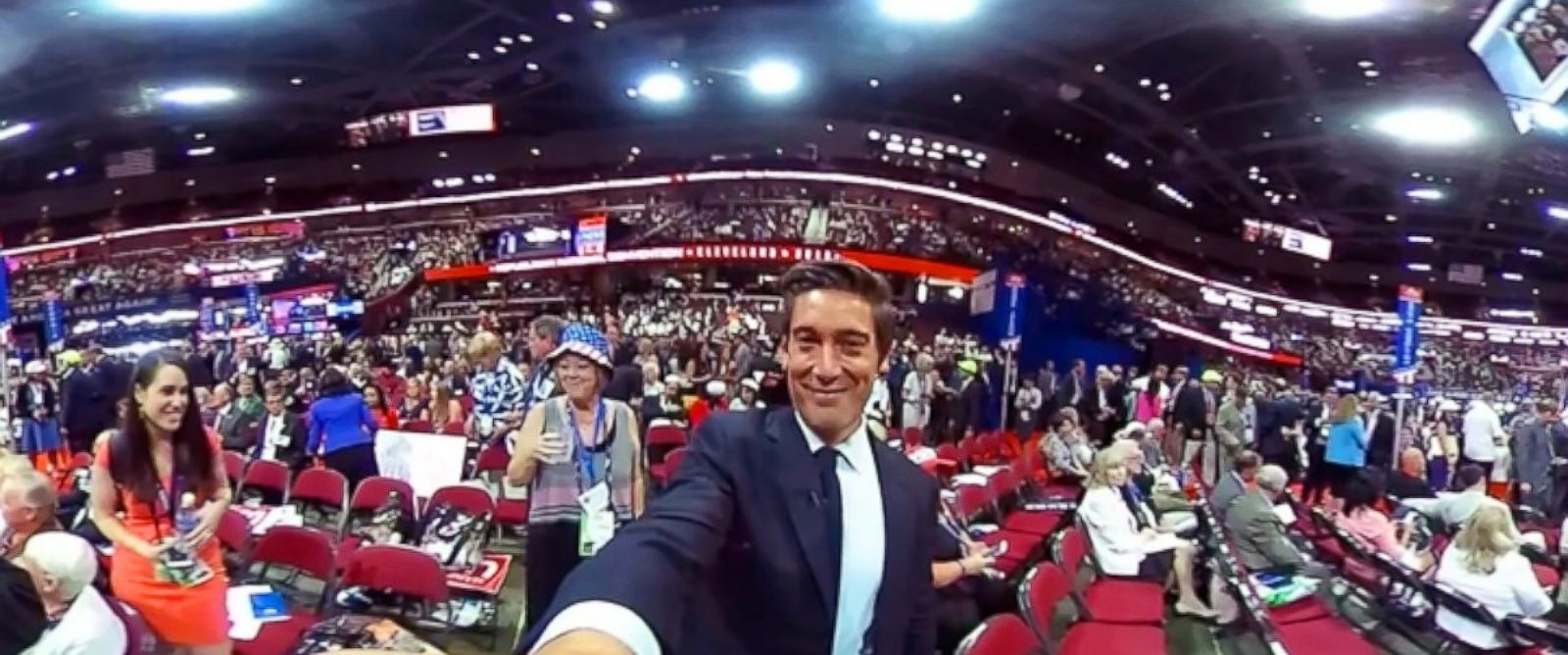 PHOTO: ABCs World News Tonight anchor David Muir on the floor of the Republican National Convention in Cleveland, July 19, 2016.