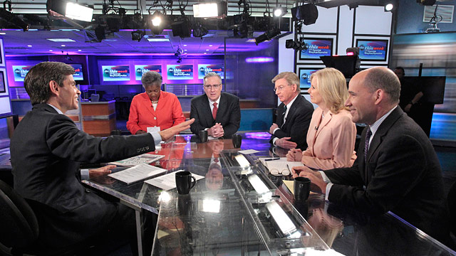 "PHOTO: ABC News George Will, Keith Olbermann, Democratic Strategist and ABC News Contributor Donna Brazile, Political Strategist and ABC News Political Analyst Matthew Dowd, and the Wall Street Journals Peggy Noonan on the roundtable on ""This Week."""