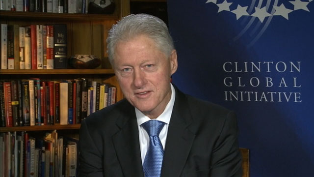 "PHOTO: Former President Bill Clinton is interviewed on ""This Week"""