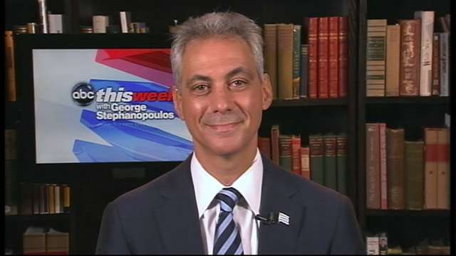 "PHOTO: Chicago Mayor and former Obama White House Chief of Staff Rahm Emanuel on ""This Week"""