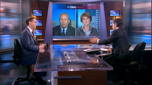 "PHOTO: Former Obama economic advisor Lawrence Summers, Mitt Romney economic advisor Glenn Hubbard, and economist Diane Swonk debate the economy on ""This Week."""