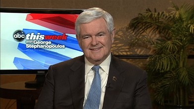 "PHOTO: Republican Presidential Candidate Newt Gingrich on ""This Week."""