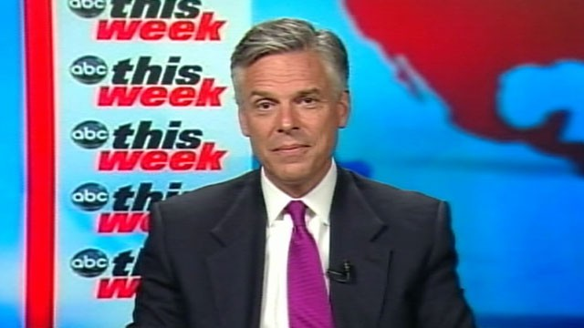 PHOTO: Presidential candidate Jon Huntsman is interviewed on