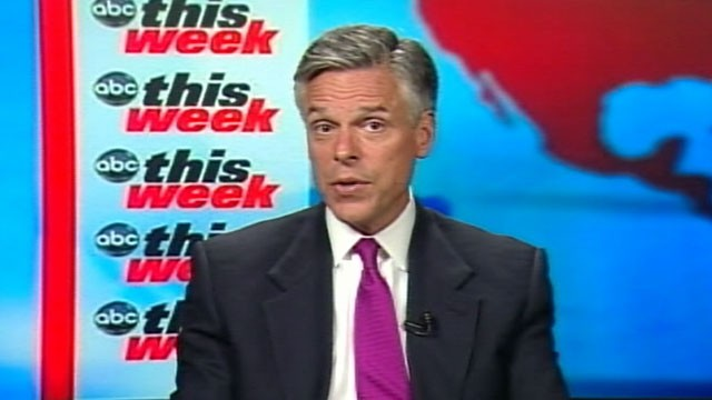 "PHOTO: Presidential candidate Jon Huntsman is interviewed on ""This Week."""