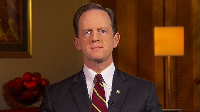 PHOTO: Senator Pat Toomey, R-Pa., is interviewed on