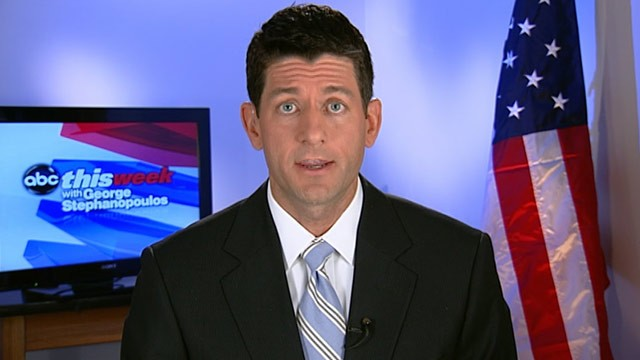 "PHOTO: Rep. Paul Ryan (R-WI), chair of the House budget committee appears on ""This Week."""