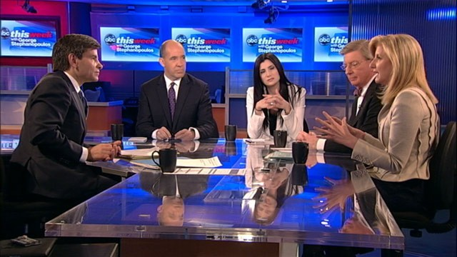 "PHOTO: George Will, Matthew Dowd, Arianna Huffington, and Dana Loesch appear on ""This Week."""