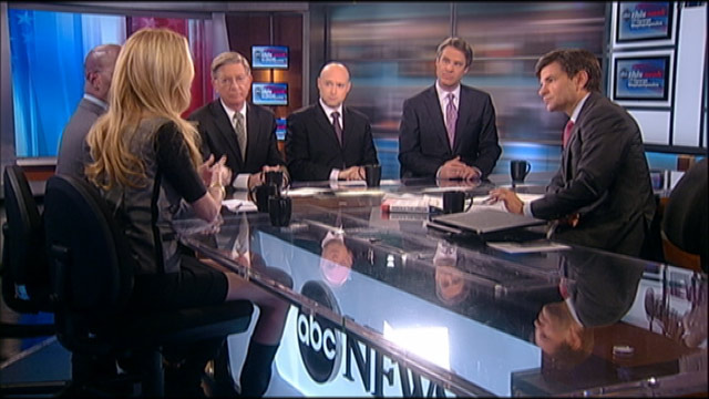 "PHOTO: ABC News George Will, The New York Times Matt Bai, Conservative Commentator Ann Coulter, Former White House Environmental Adviser and Author of ""Rebuild the Dream"" Van Jones, and ABC News Nightline Co-Anchor Terry Moran on ""This Week."""