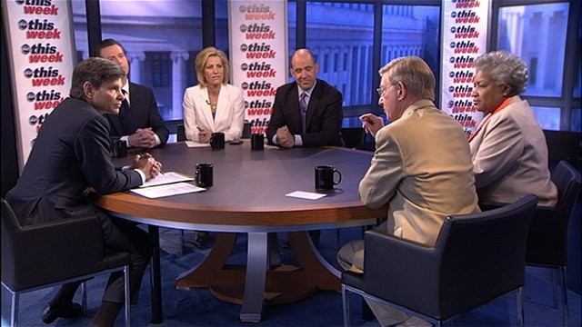 PHOTO: ABC News' George Will, ABC News Contributor and Democratic Political Strategist Donna Brazile, ABC News Political Analyst Matthew Dowd, Radio Show Host Laura Ingraham, and California's Lieutenant Governor and Current TV Host Gavin Newsom on the rou