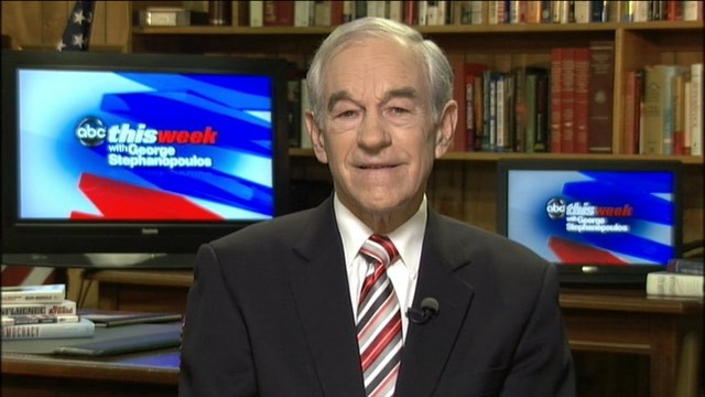 "PHOTO: Republican presidential candidate Ron Paul is interviewed on ""This Week."""