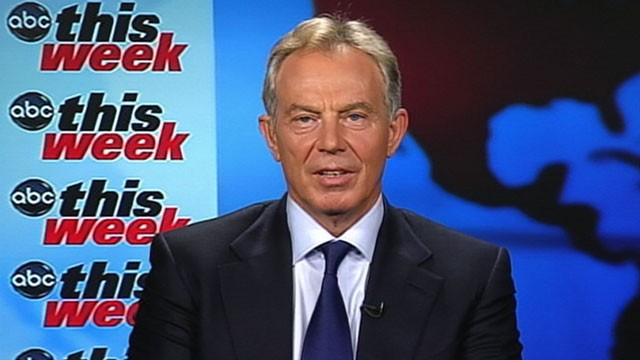 PHOTO: Mideast envoy Tony Blair, the former British prime minister, is interviewed on