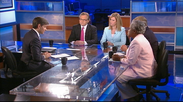 """PHOTO: Adviser Eric Fehrnstrom, ABC's George Will, and Democratic Strategist and ABC News Contributor Donna Brazile on """"This Week with George Stephanopoulos."""""""