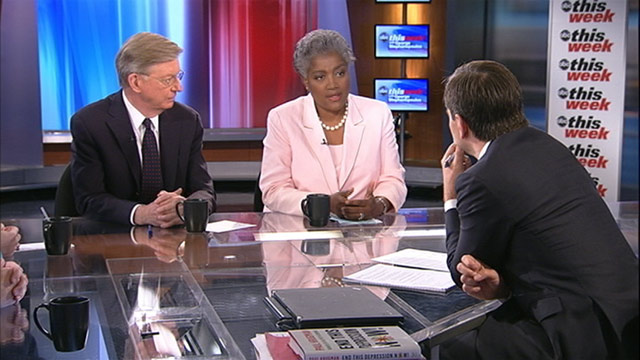 "PHOTO: ABC's George Will and Democratic Strategist and ABC News Contributor Donna Brazile on ""This Week with George Stephanopoulos."""