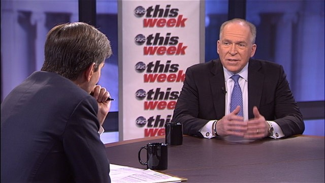 "PHOTO: White House Counterterrorism Adviser John Brennan spoke to George Stephanopoulos on ABC's ""This Week."""