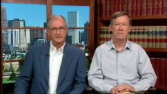 "PHOTO: Colorado Governor John Hickenlooper and Aurora Mayor Steve Hogan on ""This Week""."