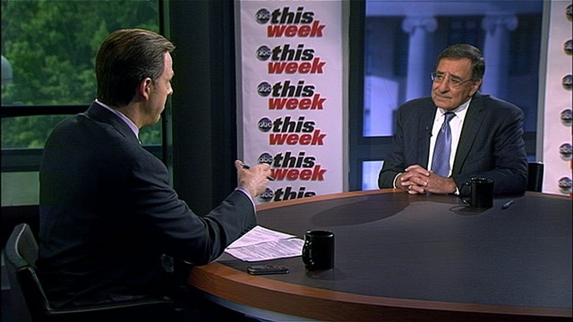 PHOTO: Secretary of Defense Leon Panetta is interviewed by Jake Tapper on