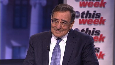 "PHOTO: Secretary of Defense Leon Panetta is interviewed by Jake Tapper on ""This Week."""