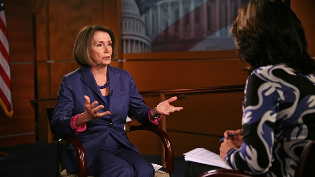 PHOTO:&nbsp;Dem. Leader Nancy Pelosi sits with &quot;This Week&quot; anchor Christiane Amanpour.