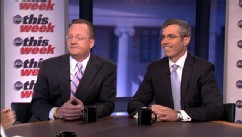 "PHOTO: Obama Campaign Senior Adviser Robert Gibbs and Romney Campaign Senior Adviser Kevin Madden on ""This Week""."