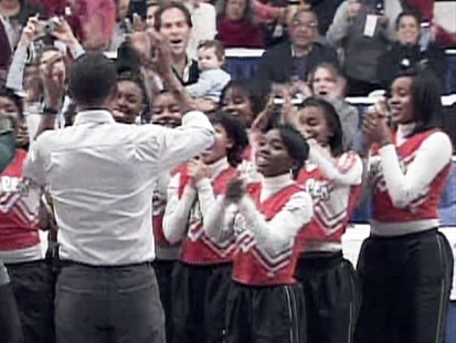 VIDEO: Cheerleaders perform for Barack Obama.